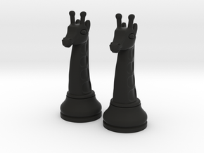 Pair Chess Giraffe Big / Timur Giraffe Zarafah in Black Natural Versatile Plastic