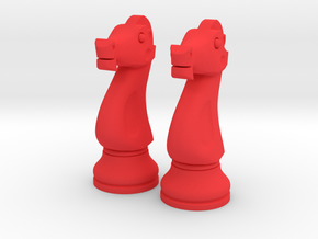 "Pair Knight Chess Big - Timur Knight ""Asp"" in Red Processed Versatile Plastic"