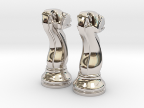 Pair Chess Camel Big / Timur Jamal  in Rhodium Plated Brass