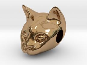 Cat Lover Friendship Bracelet Charm - Smiley Cat in Polished Brass