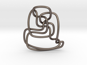 Thistlethwaite unknot (Circle) in Polished Bronzed Silver Steel: Extra Small