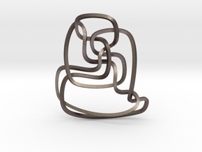 Thistlethwaite unknot (Square) in Polished Bronzed Silver Steel: Extra Small