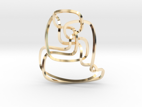 Thistlethwaite unknot (Square) in 14k Gold Plated Brass: Extra Small