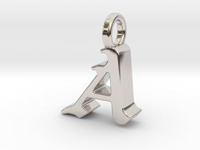 A - Pendant - 3 mm thk. in Rhodium Plated Brass
