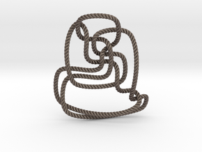 Thistlethwaite unknot (Rope with detail) in Polished Bronzed Silver Steel: Extra Small