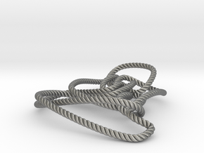 Thistlethwaite unknot (Rope with detail) in Natural Silver: Medium