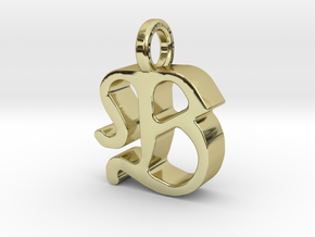 B - Pendant - 3 mm thk. in 18k Gold Plated Brass