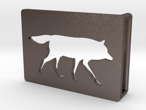 Belt Buckle - Wolf - M1SE in Polished Bronzed Silver Steel