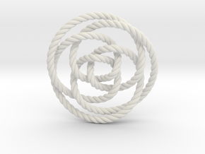 Rose knot 3/5 (Rope) in White Natural Versatile Plastic: Extra Small