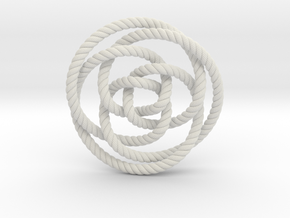 Rose knot 3/5 (Rope with detail) in White Natural Versatile Plastic: Extra Small