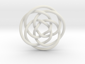 Rose knot 4/5 (Circle) in White Natural Versatile Plastic: Extra Small