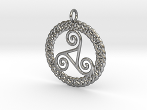 Triskelion Knot work Pendant No.2 in Natural Silver