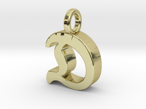 D - Pendant - 3 mm thk. in 18k Gold Plated