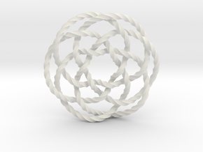 Rose knot 6/5 (Twisted square) in White Natural Versatile Plastic: Extra Small