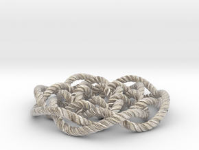 Rose knot 6/5 (Rope with detail) in Rhodium Plated Brass: Medium