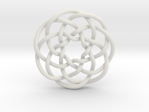 Rose knot 7/5 (Circle) in White Natural Versatile Plastic: Extra Small