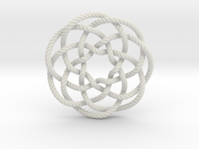 Rose knot 7/5 (Rope with detail) in White Natural Versatile Plastic: Extra Small