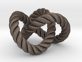 Trefoil knot (Rope with detail) in Polished Bronzed Silver Steel: Extra Small