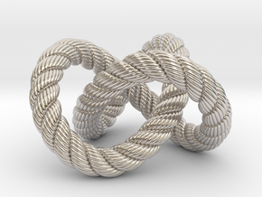 Trefoil knot (Rope with detail) in Rhodium Plated Brass: Medium