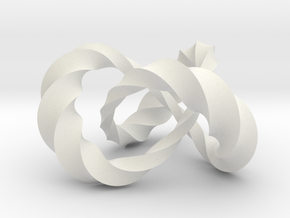 Varying thickness trefoil knot (Twisted square) in White Natural Versatile Plastic: Medium