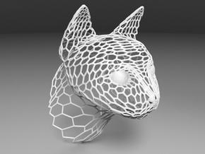 Voronoi Cat head in White Natural Versatile Plastic
