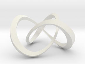 Varying thickness trefoil knot (Square) in White Natural Versatile Plastic: Large