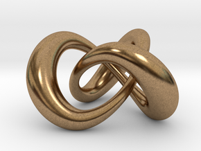Varying thickness trefoil knot (Circle) in Natural Brass: Medium