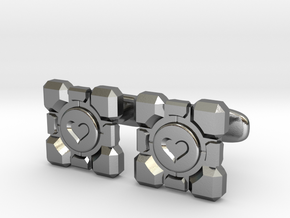 Portal Companion Cube Cufflinks in Polished Silver