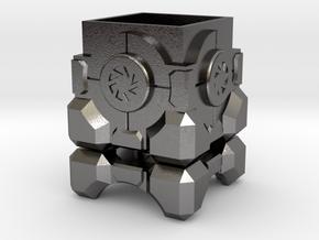 Portal Storage Cube Ring Box in Polished Nickel Steel: Medium