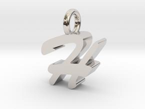H - Pendant - 3 mm thk. in Rhodium Plated Brass