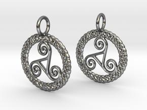 Triskelion Knot work earrings in Polished Silver