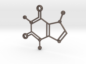 Caffeine Molecule Keychain in Polished Bronzed Silver Steel