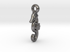 Nellie seahorse necklace charm in Polished Nickel Steel