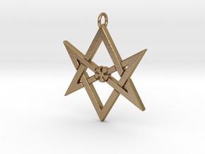 Thelemic Unicursal Hexagram in Polished Gold Steel