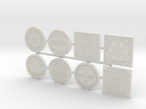 1:16 scale Manhole covers in White Natural Versatile Plastic