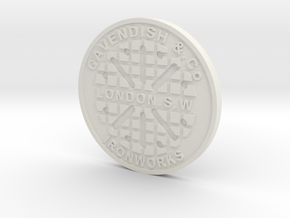1:9 Scale London Manhole Cover in White Strong & Flexible