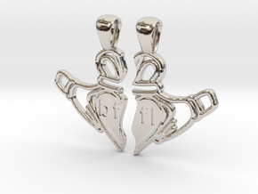 Claddagh Pendants 'Best Friends For Life' in Rhodium Plated Brass