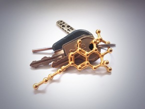 THC Molecule Necklace Keychain in Polished Gold Steel