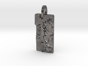 Island In The Sky Map Pendant: Medium in Polished Nickel Steel