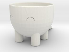 Dino Pot in White Natural Versatile Plastic