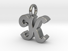 K - Pendant - 3 mm thk. in Natural Silver