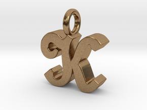 K - Pendant - 3 mm thk. in Natural Brass
