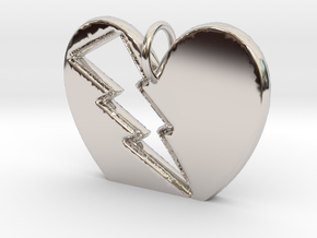 Lightening in your Heart pendant in Rhodium Plated Brass