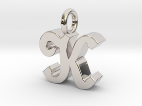 K - Pendant - 3 mm thk. in Rhodium Plated Brass