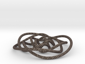 Rose knot 3/5 (Rope with detail) in Polished Bronzed Silver Steel: Small