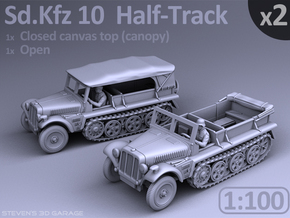 1:100 - Sd.Kfz 10  Half-Track  (2 pack) in Smooth Fine Detail Plastic