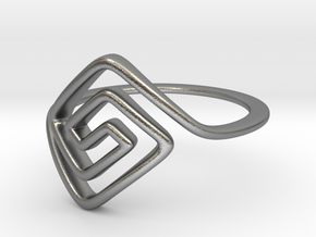 Square Spiral Ring in Natural Silver: 7 / 54