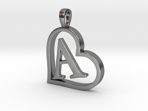 Alpha Heart 'A' Series 1 in Polished Silver