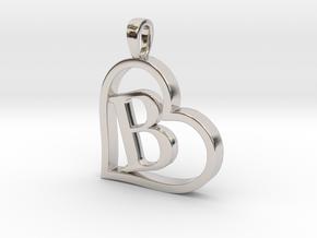 Alpha Heart 'B' Series 1 in Rhodium Plated Brass