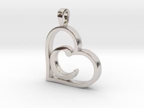 Alpha Heart 'C' Series 1 in Rhodium Plated Brass
